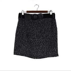 T642 Maurices Black Tweed Skirt Size 7/8 with Belt